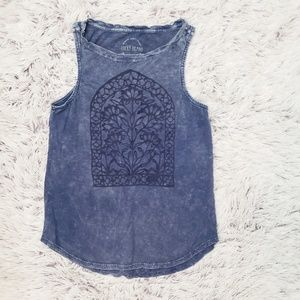 Lucky Brand Acid Wash Embroidered Tank